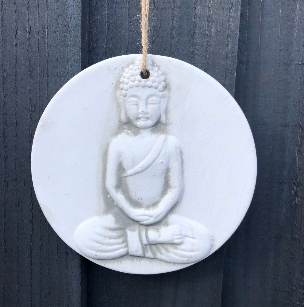 Buddha Terracotta Hanging  Home or Garden Wall Plaque 15 cm